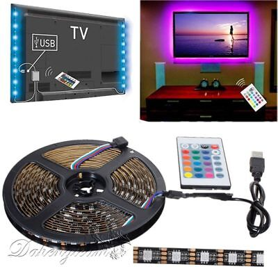 5V 5050 60SMD/M RGB USB LED Strip Lamp Bar TV Back Lighting Kit+Remote Control