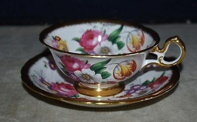 Beautiful! Royal Chelsea Hand-Painted Teacup & Saucer – England W/gold Gilt
