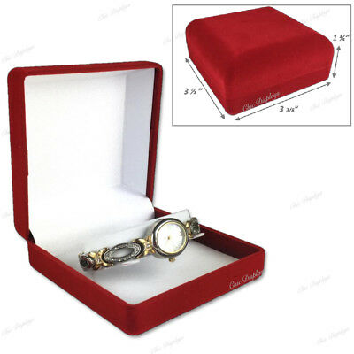 Lot Of 7 Velour Watch Gift Boxes Red Watch Box Wholesale Jewelry Boxes < Deal >