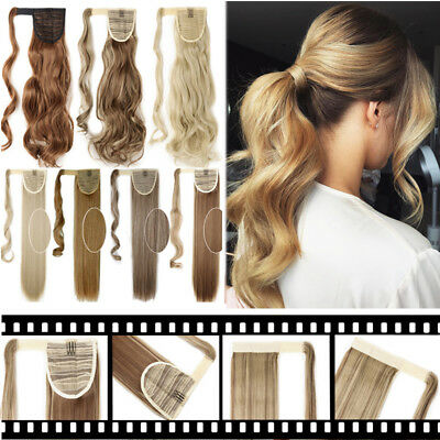 100% Real Thick Clip In As Human Hair Extensions Wrap Ponytail Straight Wavy MIX