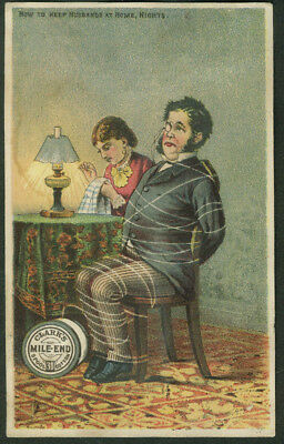 How to Keep Husbands Home tied up Clark's Cotton Thread trade card 1880s