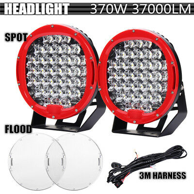 2Pcs 9inch 370W LED Round Work Light Spot Flood Driving Head Lamp offroad Jeep