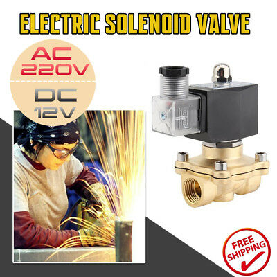"DC 12V Electric Solenoid Valve Water Air 1/2"" Brass Normal Closed N/C AC 220V GO"