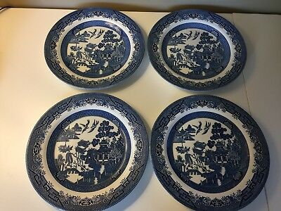 Churchill England Blue Willow 10.25 Inch Dinner Plate - Lot of 4