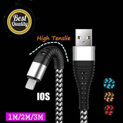 UGI 1/2/3M 2A Fast Charging Lightning iOS Data Sync Braid Cable For iPhone