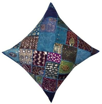 """30"""" Blue Large Boho Sari Moti Accent Handcrafted Throw Bed Cushion Pillow Cover"""