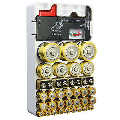 Battery Organizer Storage Removable Tester for AAA AA 9V C D Holds 46 Batteries