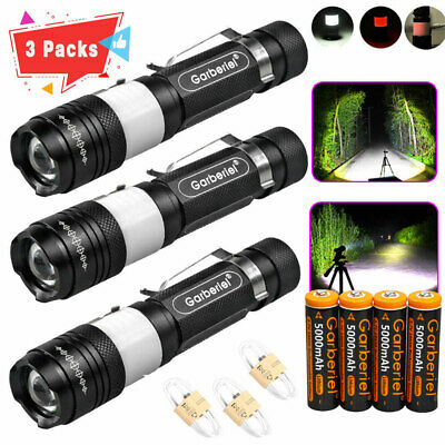 Lot Tactical Police 90000LM 3-Mode T6 USB Rechargeable LED Zoomable Flashlight