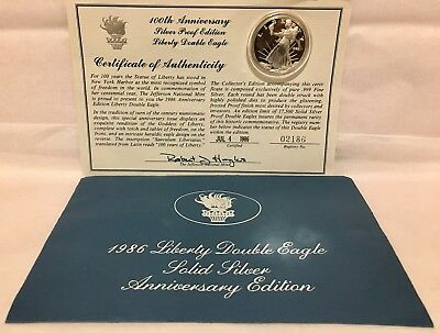 AMERICAN DOUBLE EAGLE 1986 SOLID SILVER COIN 1 Oz 100th ANNIVERSARY