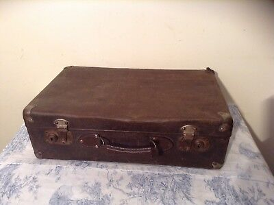 FRENCH VINTAGE SUITCASE - Metal Handle - Storage, Upcycle, Prop (2627)