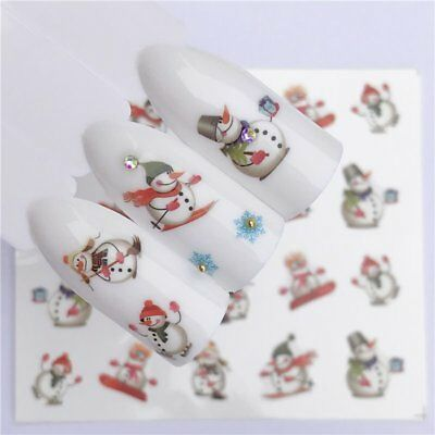 Fashion Manicure Christmas Snowman Nail Art Transfer Stickers Decoration Tips