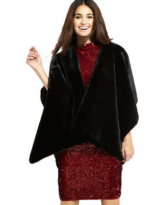 V By Very Full Faux Fur Cape In Black