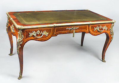 Antique French Louis Revival Kingwood & Ormolu Bureau Plat Desk 19th C