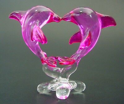 Curio Display Glass DOLPHINS PORPOISE Kissing Pink Glass Animals Glass Ornament