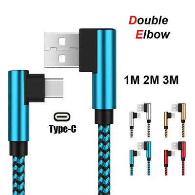 UGI 1m 2m 3m Right Angle USB Type C Cable 90° Elbow 2A Charging & Data Sync Cord