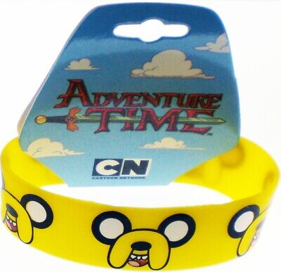 """Adventure Time Jake Faces Silicone Rubber Wristband [Pack of 2 - Orange - 8""""]"""