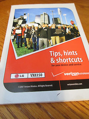 LG VX8350 Verizon Cell Phone Users Guide Owners Manual