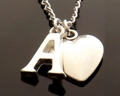 "Personalised Initial 20"" Necklace with Heart Pendant and Silver Plated Letter"