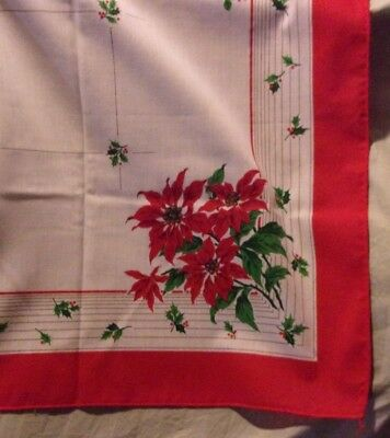 """Vintage Christmas Table Cloth   Red & White  Poinsettias  52"""" Square Bright"""