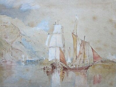 Antique MARITIME Painting 19th/C - STILL Waters RUN DEEP - Rose MADDER 10/-