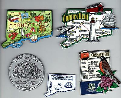 CONNECTICUT SOUVENIR MAGNETS  SET OF 5  includes JUMBO and ARTWOOD STATE  MAP