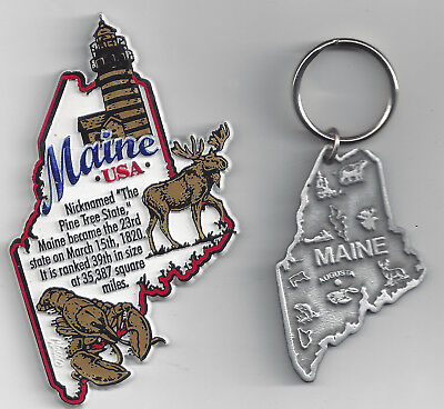 2 SETS  MAINE MAP INFO MAGNET and PEWTER   SOUVENIR KEYCHAIN  AUGUSTA  NEW USA