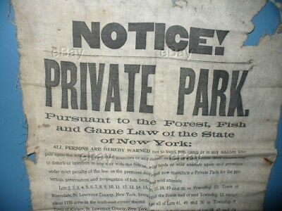 1912 Cloth Sign Notice Private Park No Hunting Fishing Brooklyn Cooperage Banner