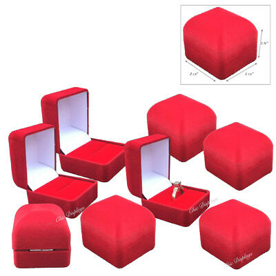 Lot Of 12 <High Quality> Velour Ring Gift Boxes Red Ring Boxes Red Jewelry Boxes