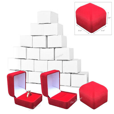 Lot Of 24 <High Dome Ring Box> Gift Boxes Red Ring Boxes Red Jewelry Boxes Deal!