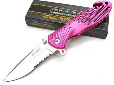 Tac-Force Pink Serrated Assisted Rescue Knife w/ Glass Breaker Tip TF-702PK