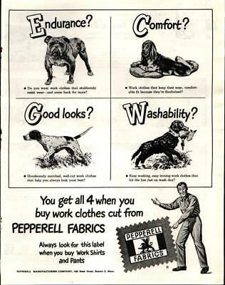 1947 Pepperell Fabrics Dogs Bulldog Pointer Retriever Vintage Print Ad 580