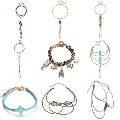 Fashion Finger Chain Women Turquoise Evil Eye Multilayer Bracelet Bangle Jewelry