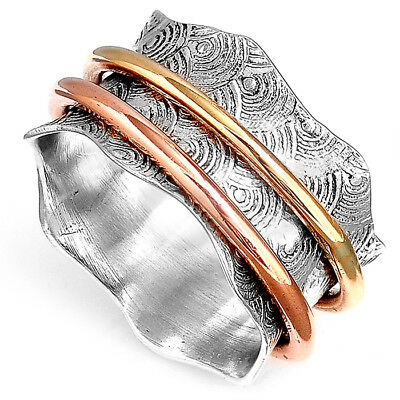 Solid 925 Sterling Silver Spinner Ring 3 Tone Spinning Wide Band Retro Size 6-8