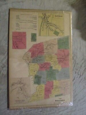 Vintage Map of Killingly, CT., from the Windham & Tolland County Atlas, 1869