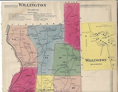 Antique 1869  Willington, Ct., Hand Colored Map. Clean & In Good Condition
