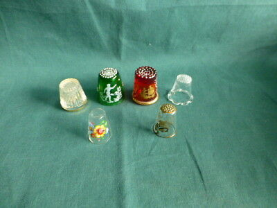 Six Glass Sewing Thimbles One Green One Red Four Clear Glass