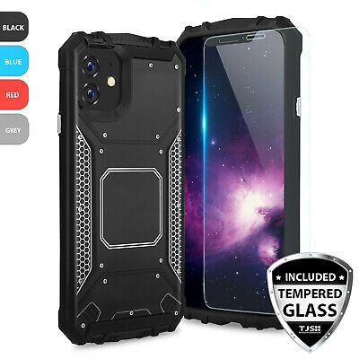 For Apple iPhone XS Max/XR/XS/X Metal Magnetic Support Phone Case+Tempered Glass