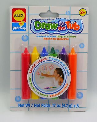 New Rub A Dub Draw In The Tub! 6 Coloured Bath Crayons Alex