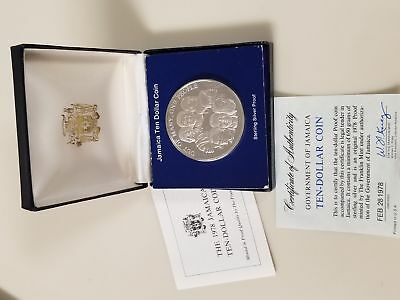 (KM-75a) 1978 JAMAICA $10 Sterling Silver Proof Coin with Box & COA ~43 grams
