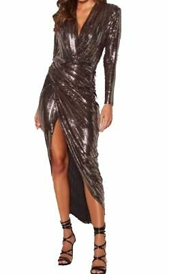 John Zack   Sequin Dress In Gold And In Silver Plunge V Neck Wrap Over