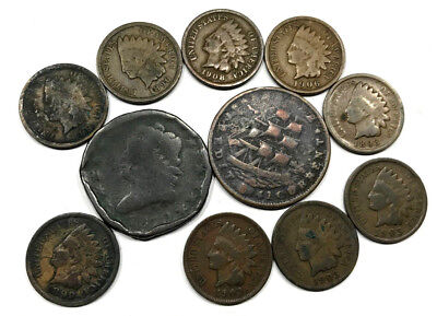 Lot Of Early U.s. Copper - (9) Indian Head Cents, Hard Times Token, & Large Cent