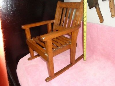 "Vnice Vintage Solid Oak Wood Child's Or Doll Mission Style 17"" Rocking Chair"