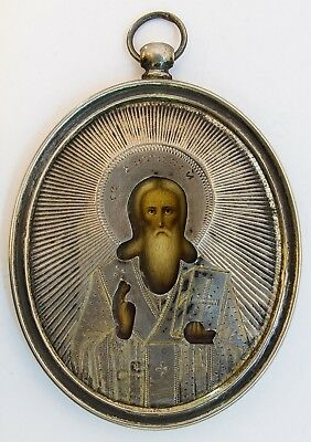 Old Antique Russian Icon of Saint Antipiy, 19th century