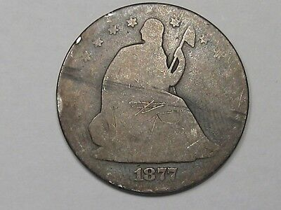 Key 1877-cc Silver US Seated Liberty Half Dollar.  #4