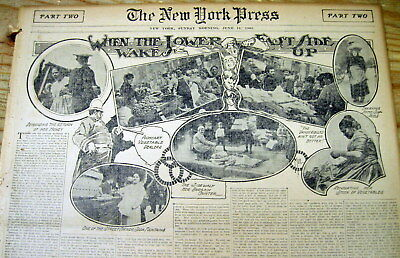 1903 newspaper w illustrated display ETHNICS @ LOWER EAST SIDE of New York City