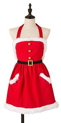 Mrs. Santa Claus Christmas Red Fabric Apron w/White Fur Trim Holiday Gift NEW