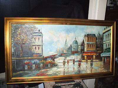 "Large 45 X 24"" Oil On Board Painting Of A Parisian Street Scene Signed L. Chone"