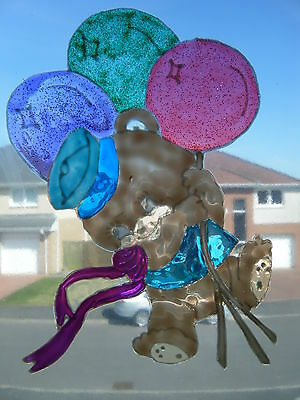 Teddy Bear & Balloons  WINDOW PICTURE DECORATION STICKER DECAL