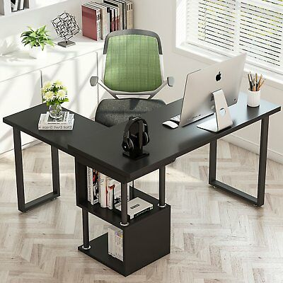 Home Office Modern L Shaped Desk Us 360 Free Rotating Corner With Shelves