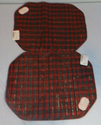 2 Christmas Reversible Placemets Red Green Gold Plaid & Solid Green Cloth NEW